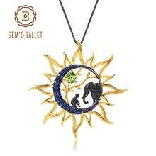 GEMS בלט טבעי פרידוט חן תכשיטים 925 סטרלינג כסף בעבודת יד שמיימי שמש ירח תליון שרשרת לנשים