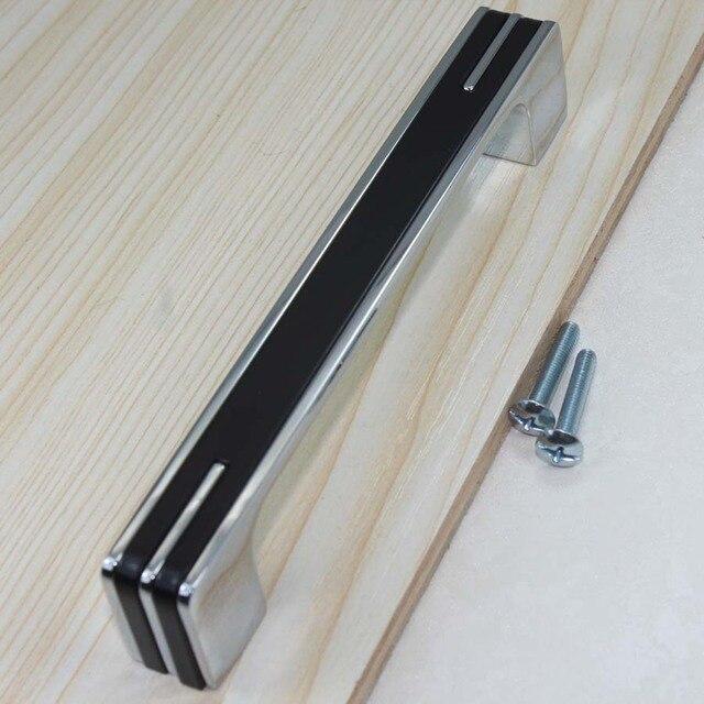 96mm Cromo Negro cocina gabinete tiradores perillas plata brillante ...