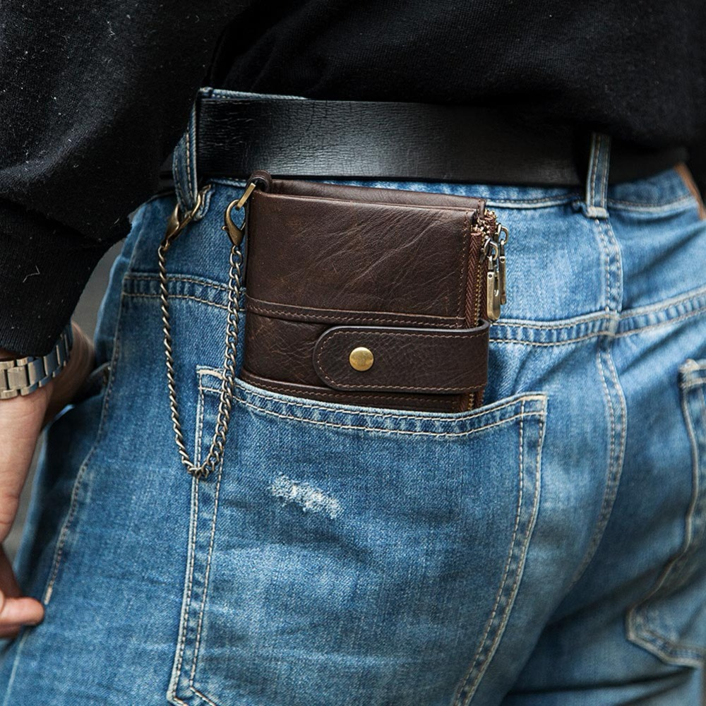 KAVIS 100% Genuine Leather Rfid Wallet Men Crazy Horse Wallets Coin Purse Short Male Money Bag Quality With Chain Walet Small wallet