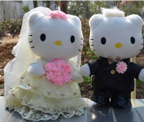 2PCS 20CM Romantic Hello Kitty Couple Wedding Cere Set Plush Doll Toy Chopper Figure Best Gift