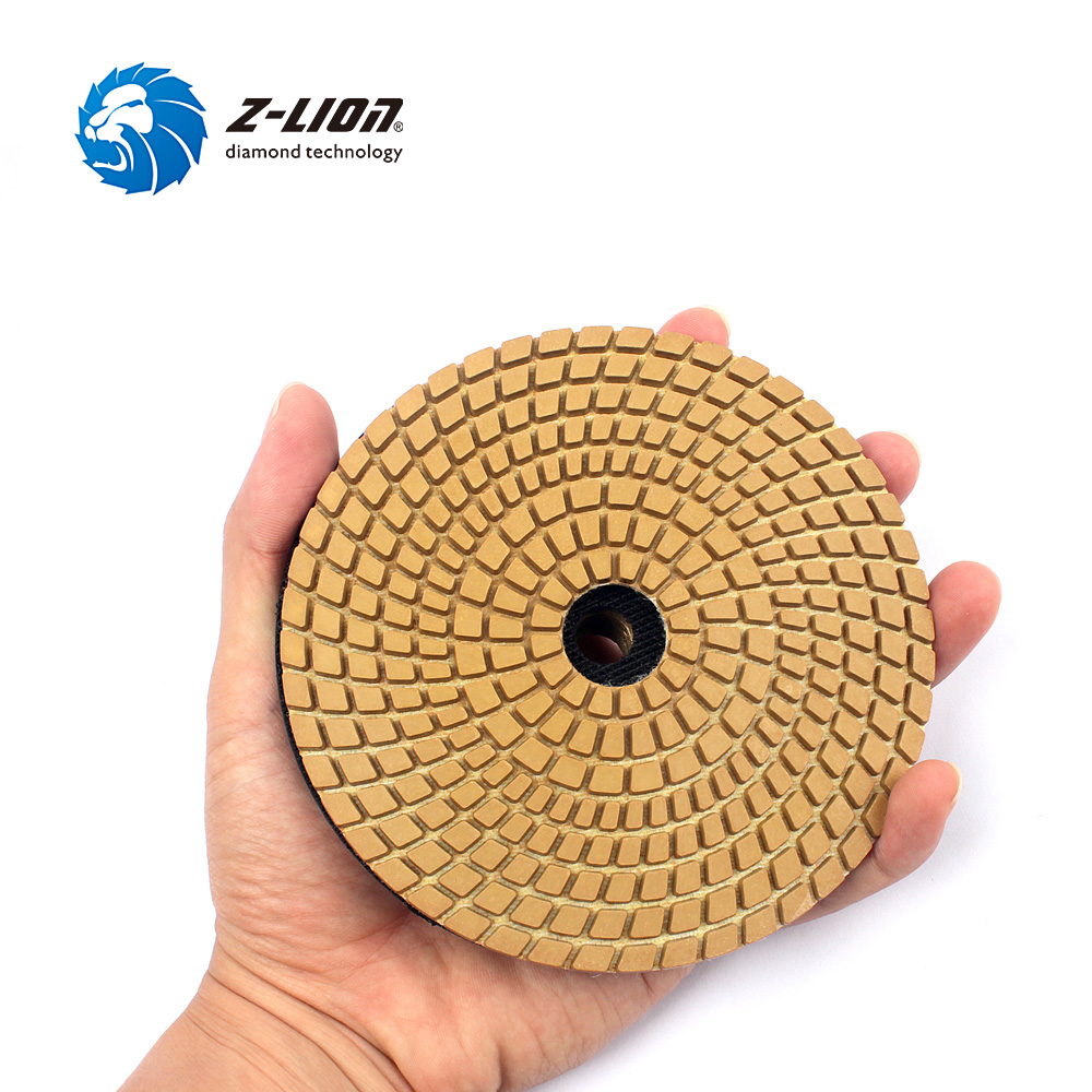 Z-LION 5PCS 5 Diameter 125mm Polishing Pad Wet Use Diamond Floor Polishing Wheel Granite Marble Stone Concrete Grinding Discs 2pcs dia 125mmx10mm vacuum brazed diamond grinding wheel dia 5 beveling wheel flat for marble granite artificial concrete stone