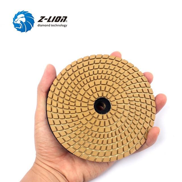 "Z-LION 5PCS 5"" Diameter 125mm Polishing Pad Wet Use Diamond Floor Polishing Wheel Granite Marble Stone Concrete Grinding Discs"
