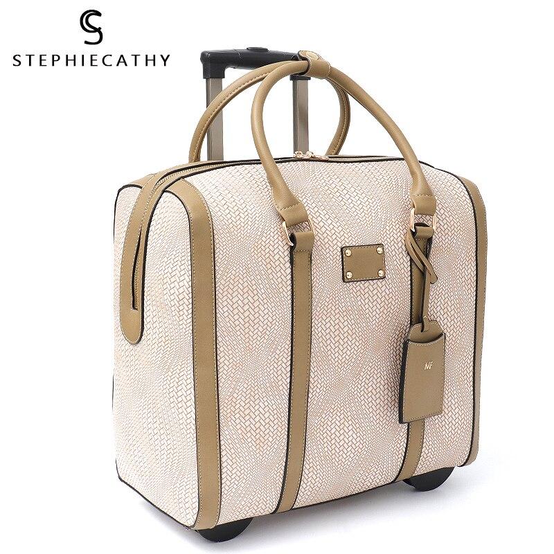SC duża moda kobiety przenoszenia pantofle torba podróżna sztuczna skóra druku wózek na bagaż z dnia na dzień walizka wakacje zestaw kołowy torba w Bagaż podręczny od Bagaże i torby na  Grupa 2