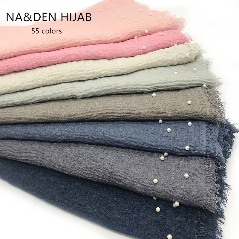 NEW Bubble soft solid fringes women scarf one side pearls nice beads hijabs popular muffler shawls