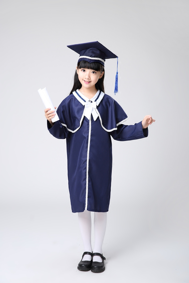 Kindergarten Primary Students Chorus Shawl Kids Academic Dress Girls Graduation Gown Cap Dr. Cloth Bachelor Suits Cosply 18