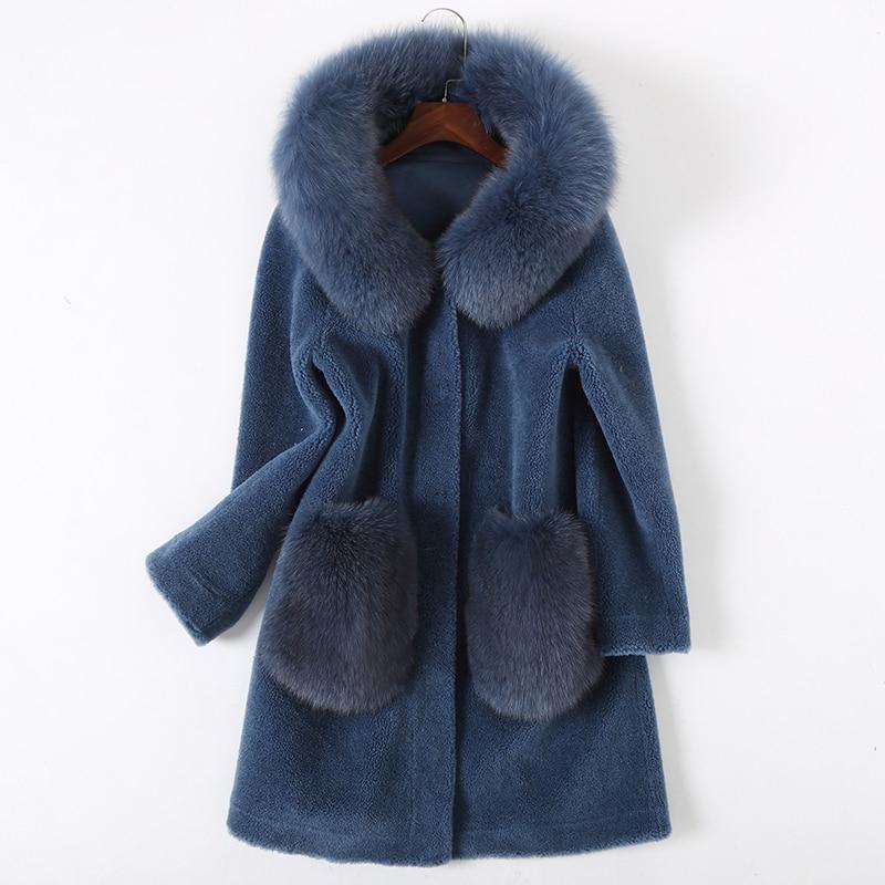 Fourrure Long Laine Veste Réel Blue De 100 Manteau Zt1437 2018 Vêtements Capuche Femmes Vintage Abrigo beige Renard Hiver À Coréen Mujer Automne ax66Ewrq