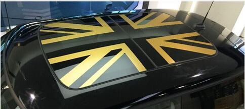 brand new fashion car roof sticker stylish gold union jack. Black Bedroom Furniture Sets. Home Design Ideas