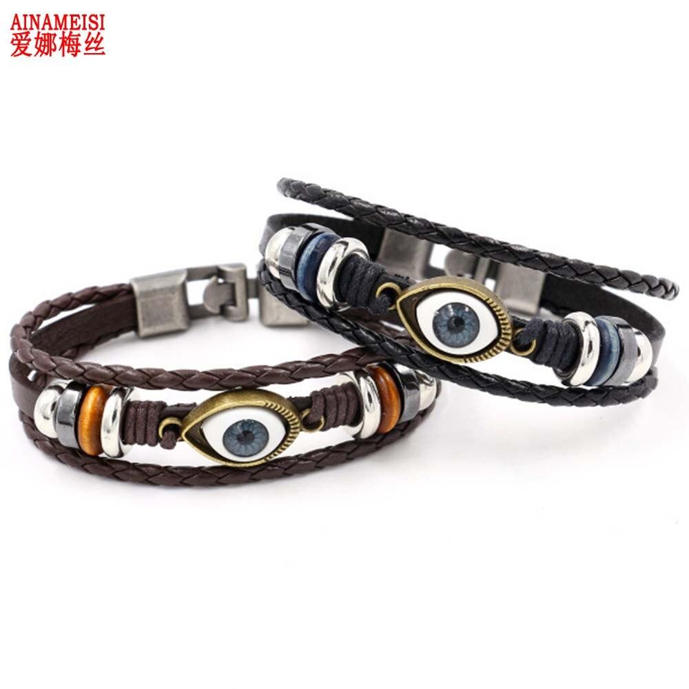 AINAMEISI Punk Design Turkish Evil Eye Bracelets For Women Men Wristband Female Leather Bracelet Synthetic Stone Vintage Jewelry
