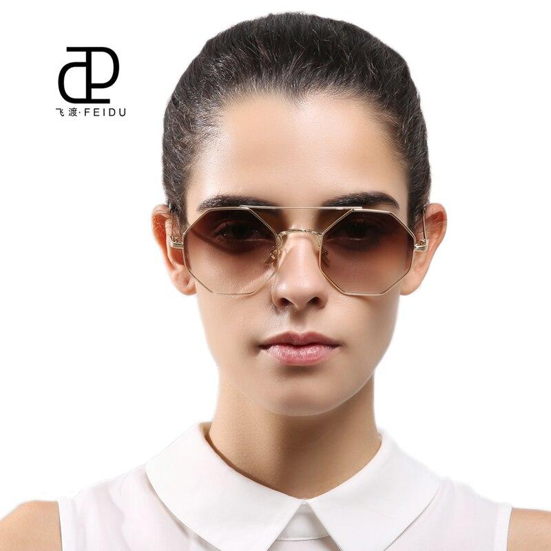 FEIDU 2017 modes metāla daudzstūris saulesbrilles sievietes zīmola dizains Retro sakausējuma astoņstūra rāmis saules brilles sievietēm Oculos De Sol