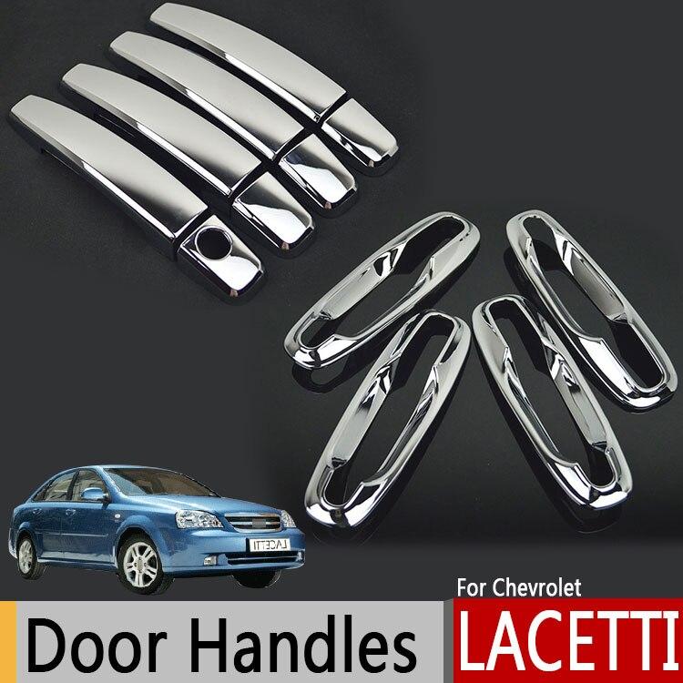 Poignées de portes extérieures chromées pour Chevrolet Lacetti Optra Daewoo Nubira Suzuki Forenza Holden Viva autocollants style de voiture