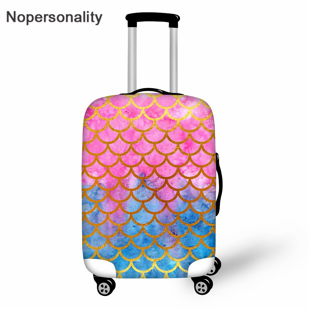 Nopersonality Mermaid Scale Print Travel Luggage Protective Dust Cover Elastic 18-30inch Suitcase Cover Travel Accessories