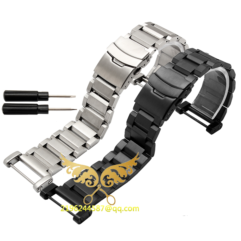 где купить  Free shipping For Suunto Core All Black 24mm Stainless Steel Strap Watch Band W/ Lugs Kit + PVD Buckle +Adapters+Tools For Ross  по лучшей цене