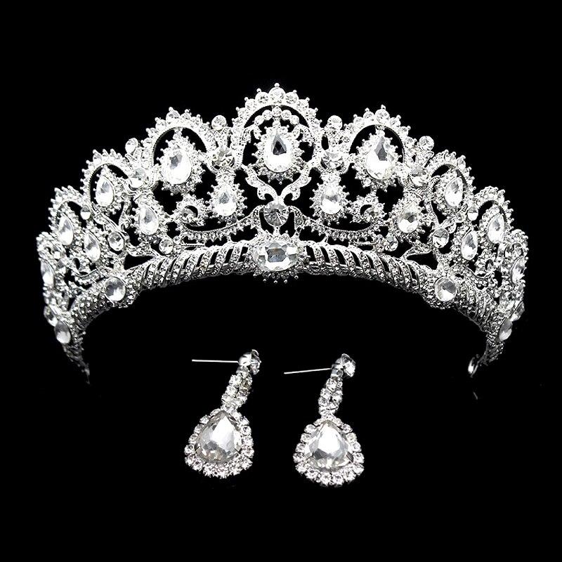 Stříbrné drahokamu vlasy příslušenství Vintage velká svatební královna koruna křišťál svatební průvod čelenky čelenka pro ženy nevěsta