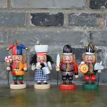 4pcs Original wood christmas tree decorations fat 12cm Wood Soldier nutcrackers Figurines crafts for home