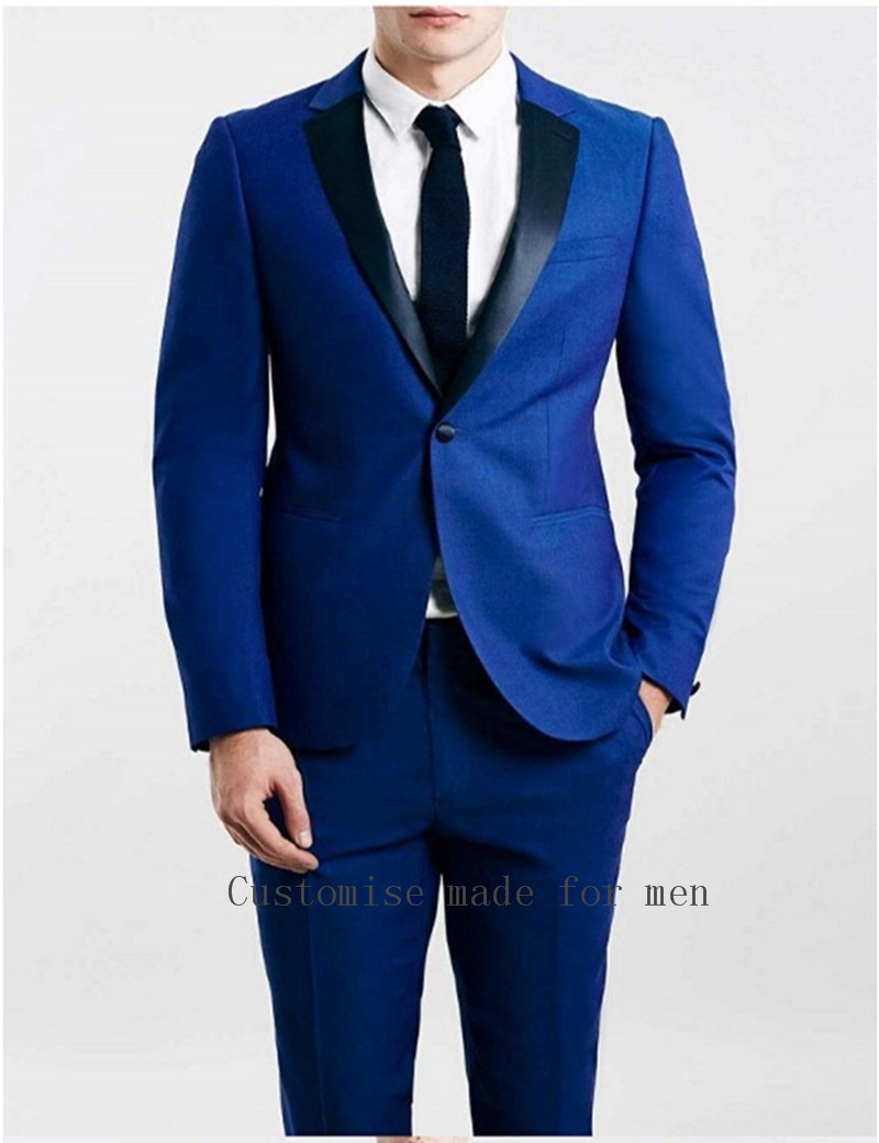 Custom Made Royal Blue Jacket Groom Tuxedos Black Velvet Lapel Best ...