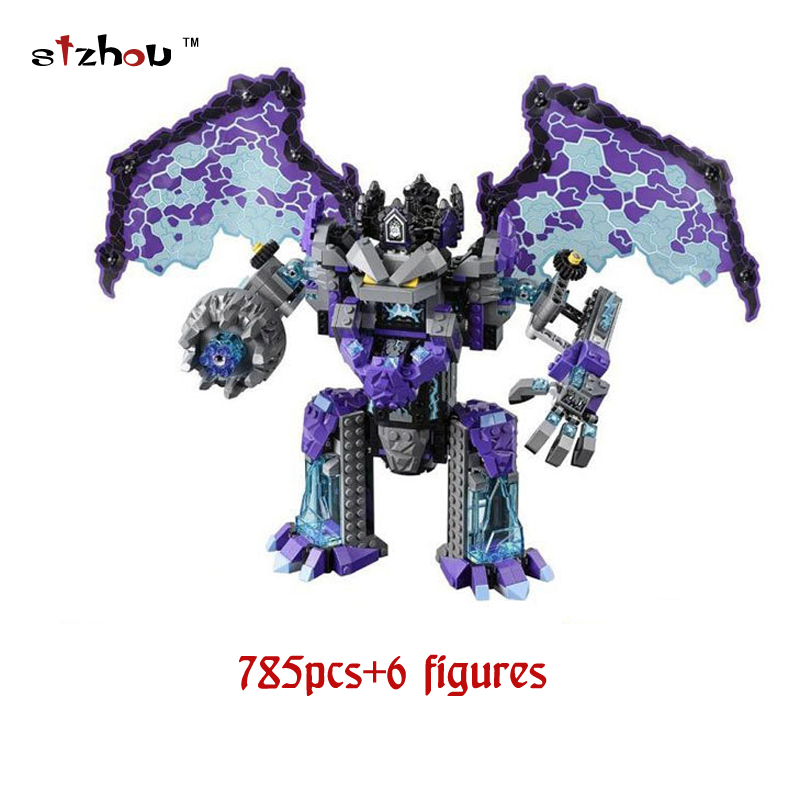 Stzhou 785pcs Knight Stone Colossus of Ultimate Destruction Model Building Blocks 14036 Bricks Toys Nexus Compatible With Legoed in stock lepin 14036 785pcs nexoe the stone colossus of ultimate nexus destruction knights building blocks bricks toys for kids