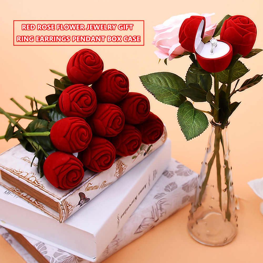 שימושי אדום עלה פרח חתונה קישוט יצירתי להציע טבעת תכשיטי תיבת עגיל טבעת אחסון תכשיטי מארגן מתנת מקרה