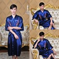 2016 winter printed flower unisex silk kimono bath gown long rayon robe chinese men&women sleepwear nightgown pajama