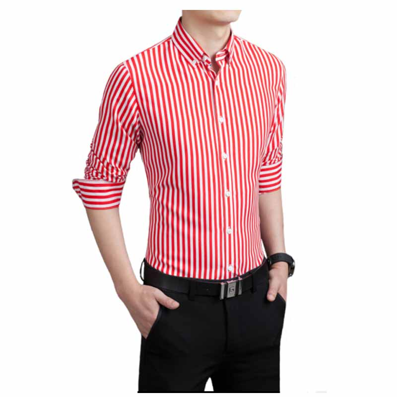 Shirt Men 2018 New Striped Long Sleeves Mens Dress Shirts Camisa Masculina Spring Summer Brand Casual Male Shirt Tops 5XL