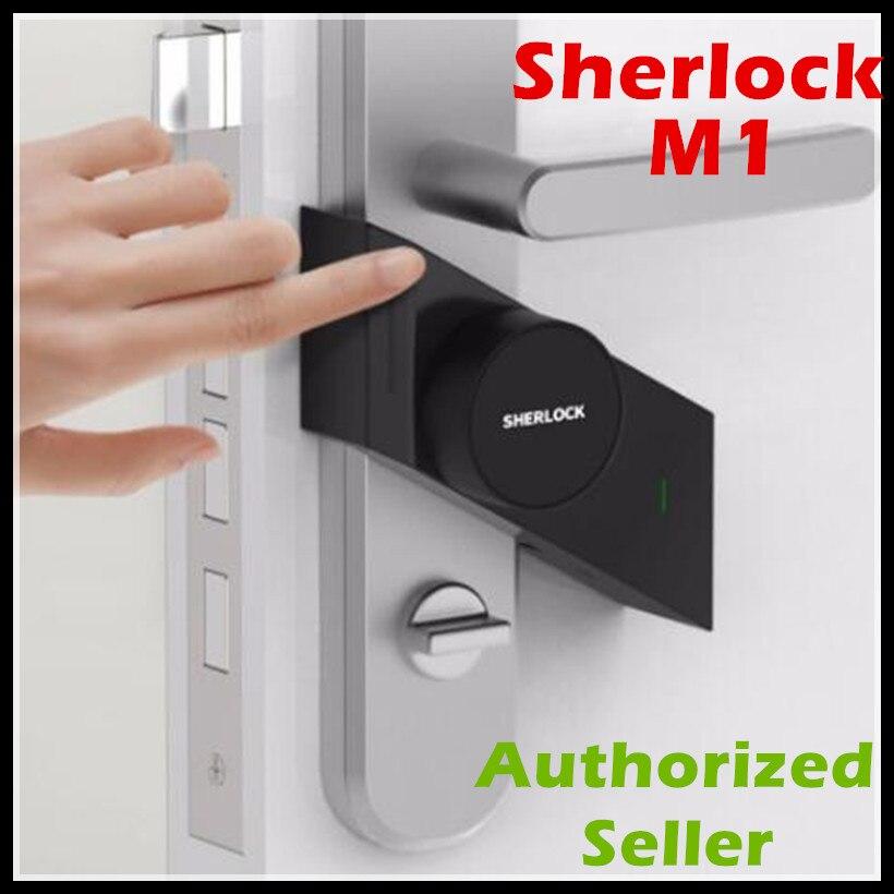 Em Estoque Xiao mi Sherlock bloqueio Inteligente mi M1 jia trabalho para mi Inteligente Keyless fechadura da porta de Impressão Digital + Senha casa de controle de aplicativo de telefone