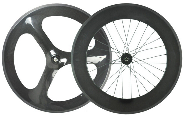 Cheap best price 700c front fixed gear carbon three spoke clincher wheels rear wheel 88mm from factory for sale