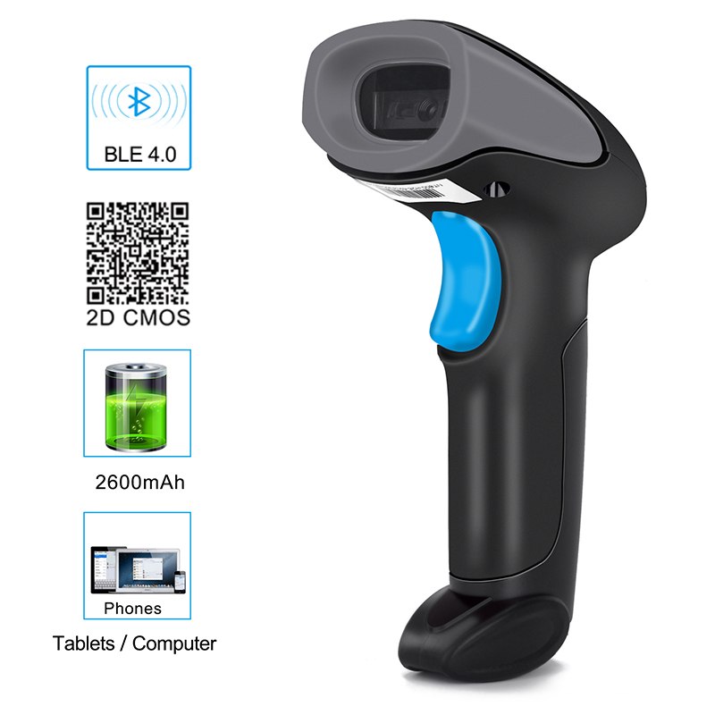 Wireless & Wired 2 In 1 Bluetooth 4.0 & USB Barcode Scanner 1D/2D Laser Bar Code Reader for PC iOS Android Windows w APP Support image