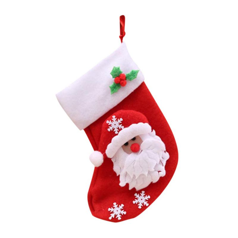 Stockings Snowman Santa Claus Holiday Gift Bag Home Garden F