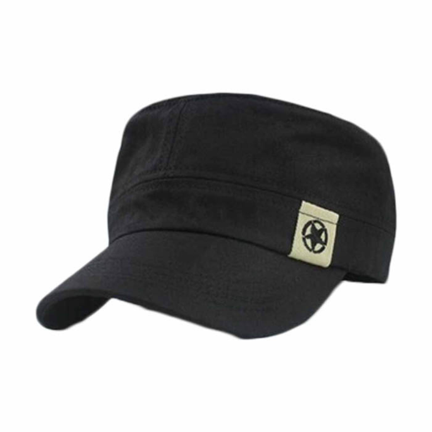 Good Deal New Fashion Unisex Flat Roof Cadet Patrol Bush Baseball Field Cap Black Hats Gift