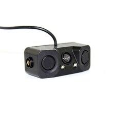 3 em 1 Uma câmera Bacup + Dois Sensores De Estacionamento De Carro Invertendo Som do Alarme de Radar sistema de Backup do HD LEDS Camera & Sensor de Radar PZ451