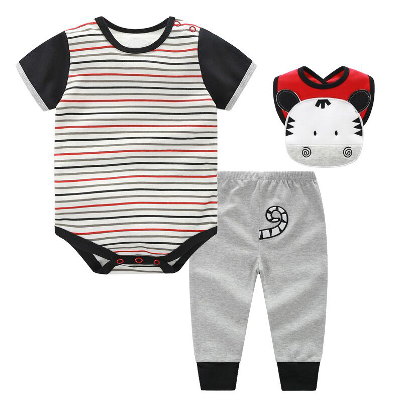 3 PCS Baby Boys Girls Clothes Set 2017 Summer Animal Cow Pattern Baby Romper Baby Pants Bibs Sets Infant Baby Clothing Set 2017 summer newborn infant baby girls clothing set crown pattern romper bodysuit printed pants outfit 2pcs