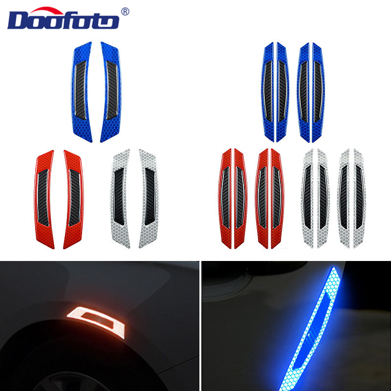 DOOFOTO Car Sticker Reflective Strip Wheel Eyebrow Door Warning Tape Styling Safety Universal For All
