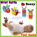 Hot sale SOZZY Baby Toy Baby Rattles Toys Animal Socks Wrist Strap With Rattle Baby Foot Socks Bug Wrist Strap Wholesale