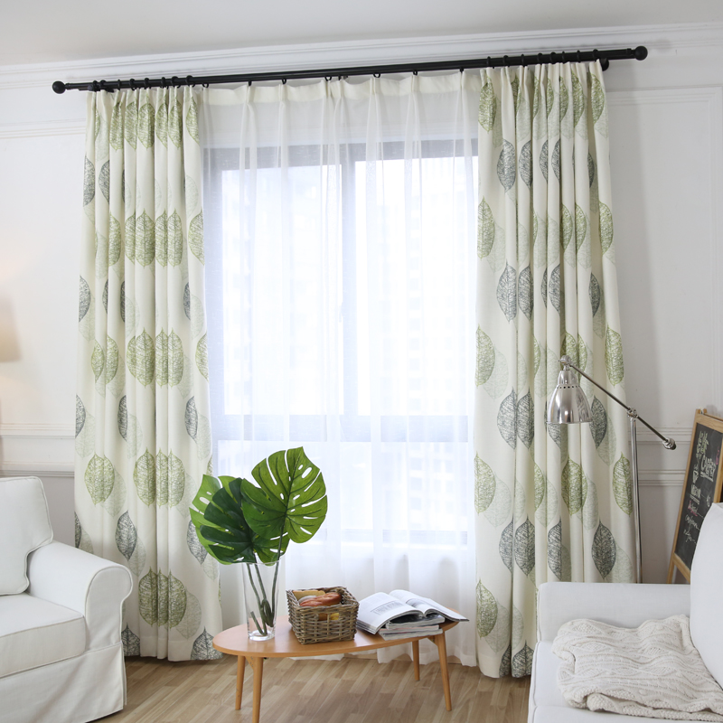 Garden style leaf printing bedroom curtains for interior decor, rod pocket living room s ...