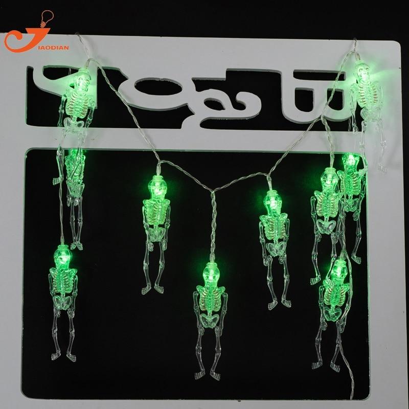 Skeleton Man Fairy lights Hallowmas Decorative 10 LED Green String Lighting Halloween Decoration Skull garland party 4pcs /lot