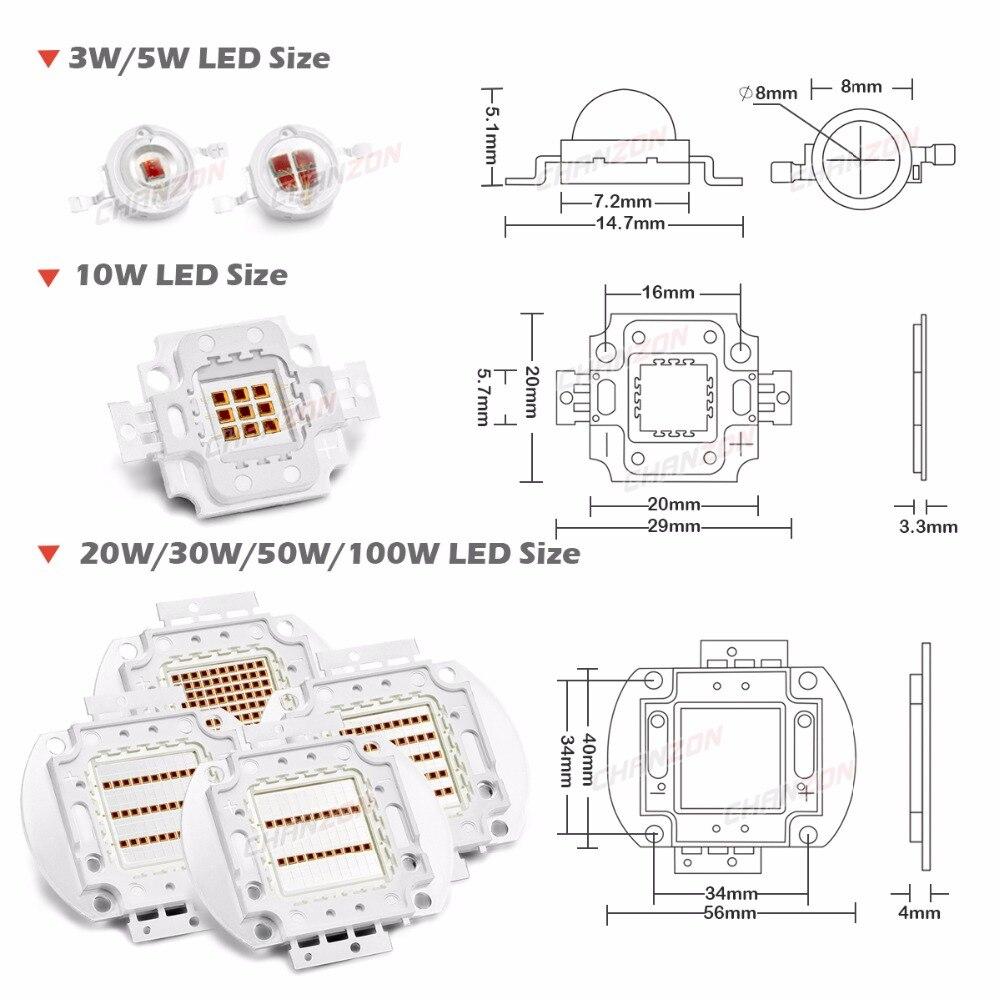 High Power LED Chip 730nm Far Red 3W 5W 10W 20W 30W 50W 100W Infrared  Emitter Lamp Light Bead 730 nm 3 5 10 20 30 50 100 W Watt