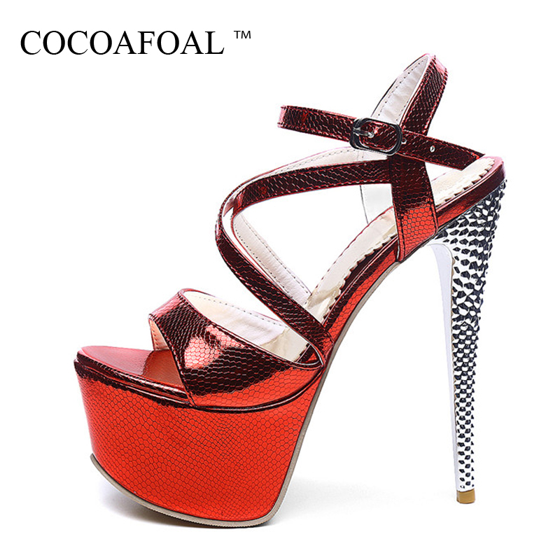 COCOAFOAL Woamn White Wedding Sandals Plus Size 31 - 48 High Heels 16 CM Sandals Fashion Sexy Silvery Red Peep Toe Pumps 2018 cocoafoal woamn patent leather sandals fashion heel height black white wedding shoes sexy genuine leather pointed toe sandals