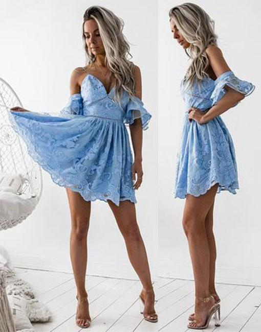 Sky Blue 2019 Elegant Cocktail Dresses A-line Spaghetti Straps Short Mini Lace Party Plus Size Homecoming Dresses