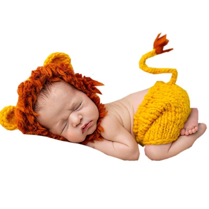 Morbido cappello lavorato a mano all'uncinetto per neonato Puntelli Fotografia Set Bebe lavorato a maglia Fotografia Costume 0 ~ 12 mesi KF085