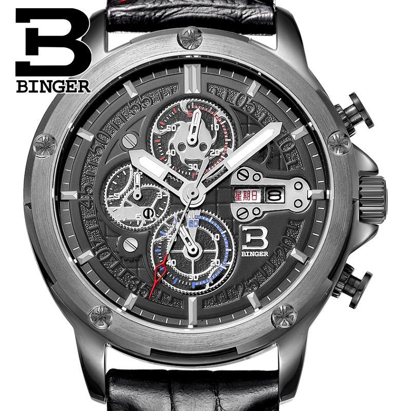 Switzerland men's watch luxury brand Wristwatches BINGER Quartz men watches leather strap Chronograph Diver glowwatch B6009-4 wristwatches luxury brand men quartz gold watch sapphire leather strap watches men 12 month guarantee bg0389