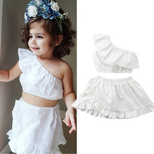2019 Baby Girl Clothes Summer Sleeveless Off Shoulder Crop Tops Skirt Newborn Kids Baby Girls Clothing Set White 2PCs Dress new цена 2017
