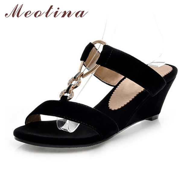 b4137a8fcdf Meotina Women Slides Summer Open Toe Slippers Flock Party Medium Heel  Wedges Female Chains Comfortable Black