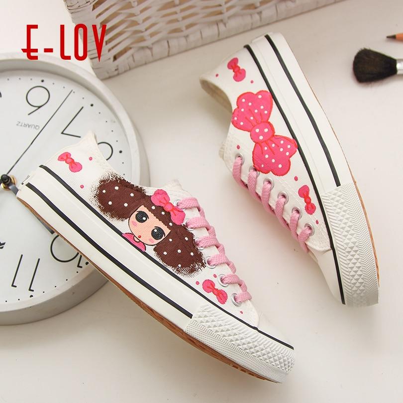 Toile Mode Dentelle Chaussures Sneaker D'impression De D090 Mignon E Motif Belle Casual Femmes Coins d091 Coréenne up D'été d089 d096c Filles lov Marque wqxwY7vA