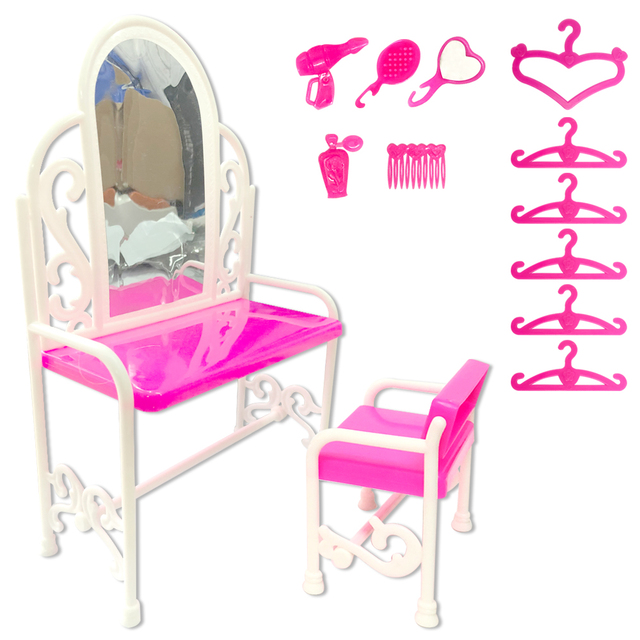NK 1 Set  Doll Accessories  Plastic Dresser Table Chair Hangers Comb Dryer Dollhouse Furniture For Barbie Doll Dressing Toy  DZ