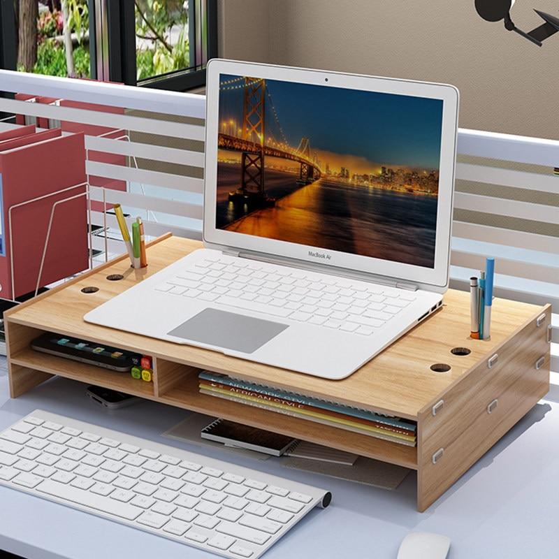 Wooden Desktop Monitor Stand Riser Holder Over Keyboard Desk