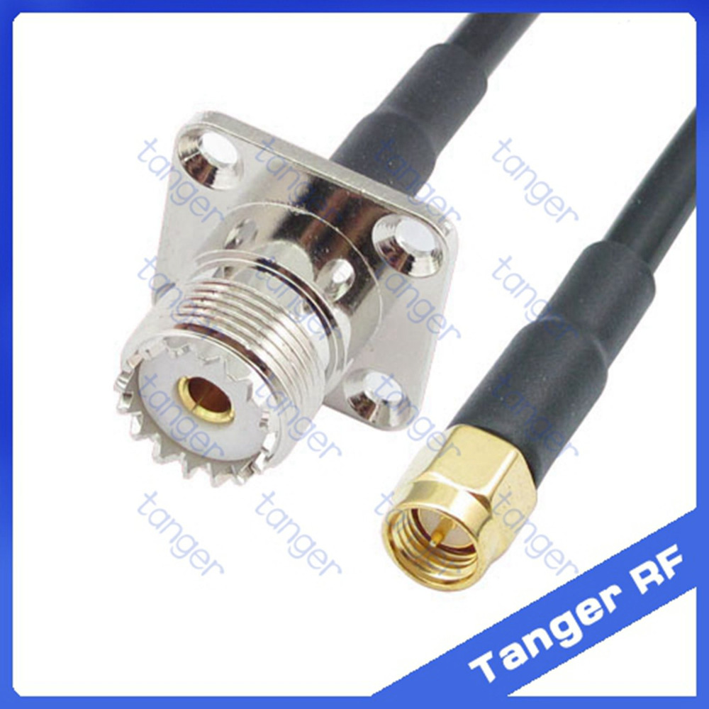 Hot sale Tanger UHF female jack 4 hole panel SO239 SL16 to SMA male plug RF RG58 Pigtail Jumper Coaxial Cable 20inch 50cm hot selling tanger bnc female jack 4four hole panel to uhf male plug pl259 sl16rf rg58 pigtail jumper coaxial cable 40inch 100cm
