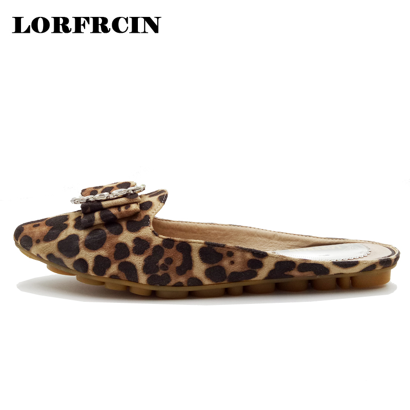 LORDRCIN Women Flat Shoes Rhinestone Decoration Women Slipper Leopard Pointed Toe Women Shoes Slip On Loafers Flats Women cresfimix women cute spring summer slip on flat shoes with pearl female casual street flats lady fashion pointed toe shoes