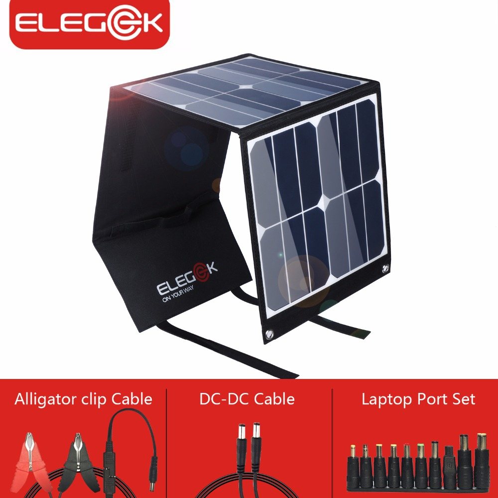 ELEGEEK 5V 18V 40W Portable Solar Panel Charger SUNPOWER DC 18V Outdoor Solar Charger for Laptop/12V Battery/Mobile Phone portable solar charging panels outdoor travel emergency 24w 5v 18v solar power mobile phone gps bluetooth earphone solar charger