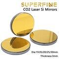 Сверхтонкая упаковка одного лазерного зеркала CO2 Si диаметром 19, 20, 25, 30 мм, толщина 3 мм для лазерного гравировального станка, запчасти