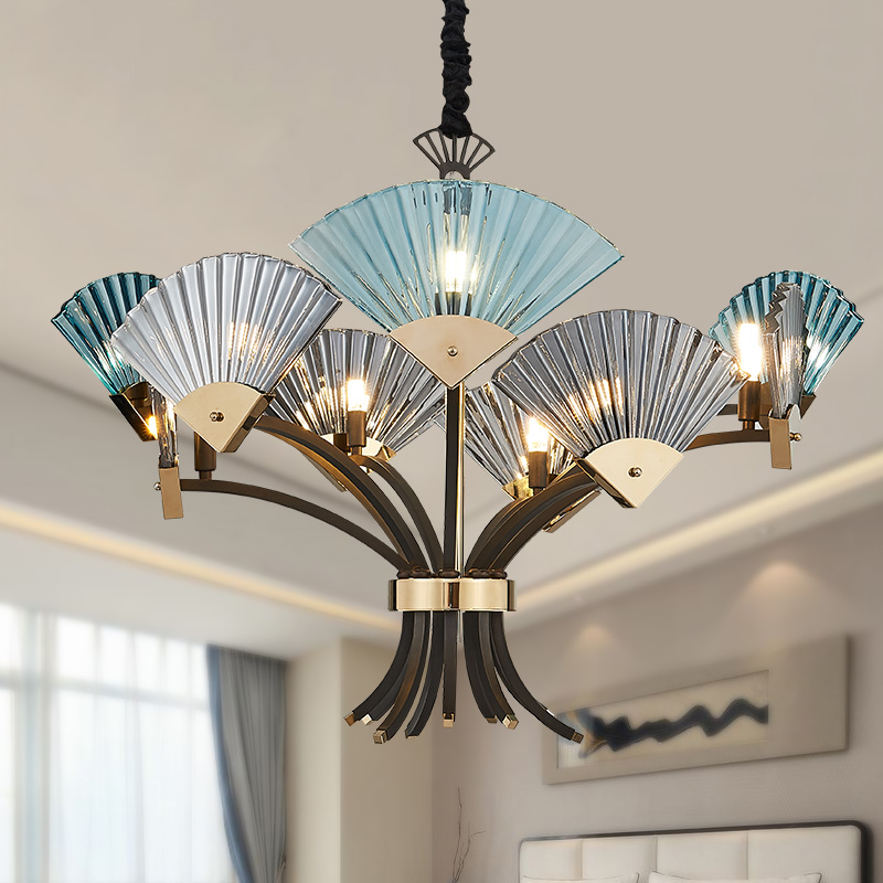 Postmodern Minimalist Fans Glass Art decor Chandeliers G9 6/9 heads  Creative pendent lights Living Rooms  Dining Room Bedroom postmodern minimalist fans glass art decor chandeliers g9 6 9 heads creative pendent lights living rooms dining room bedroom