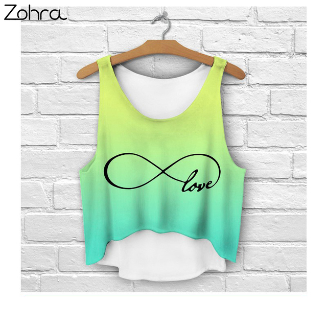 2015 new hot  T-shirt fresh Tops Tee  women high quality fashion plus size crop tank tops white printing infinity eight 8